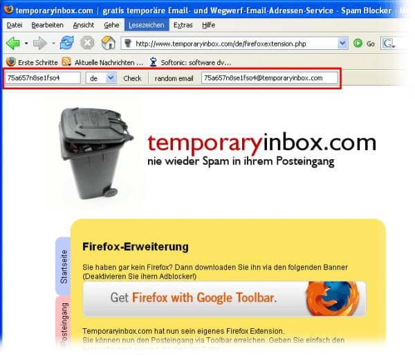 Temporary Inbox