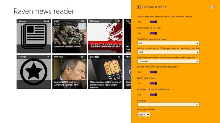 Raven news reader for Windows 10