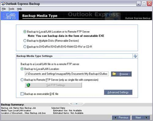 Genie Outlook Express Backup