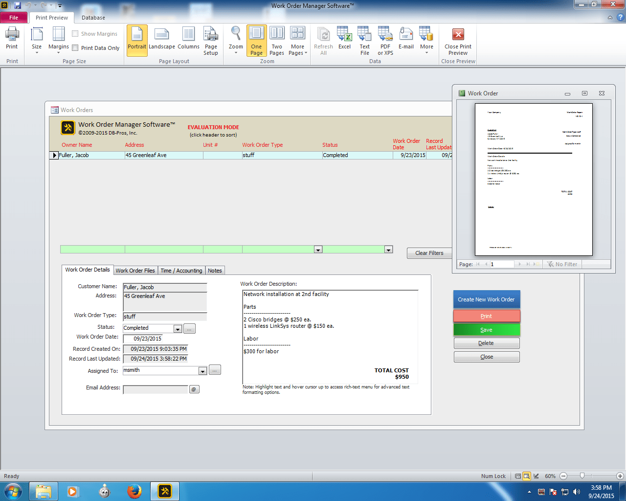 Work Order Manager Software 2.2.2