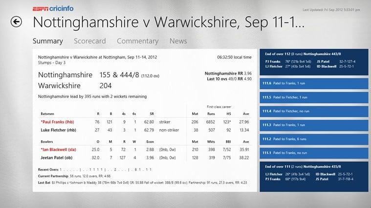 ESPN Cricinfo for Windows 10