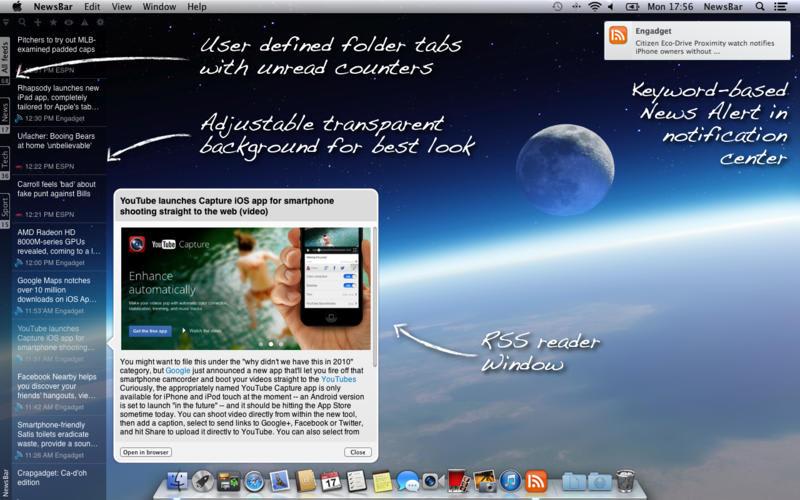 NewsBar RSS reader