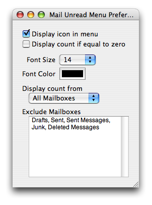Mail Unread Menu