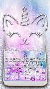 Silver Unicorn Cat Keyboard Theme