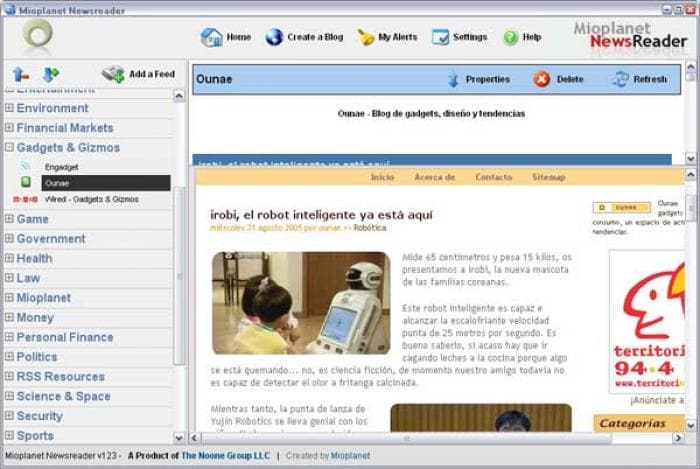 Mioplanet RSS Newsreader