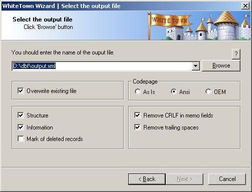 DBF to XML Converter