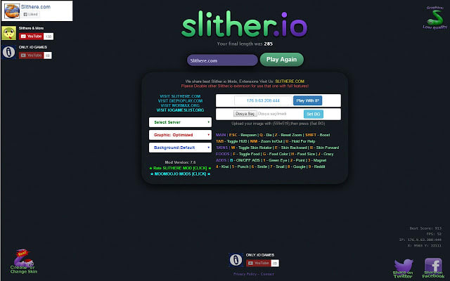 Slither.io Mods, Zoom, Create Skins SLITHERE