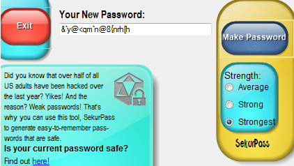 SekurPass Password generator