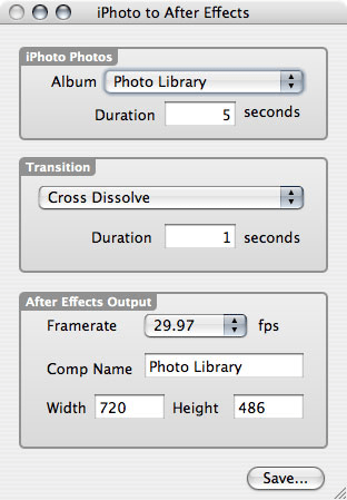 iPhoto to After Effects Slideshow