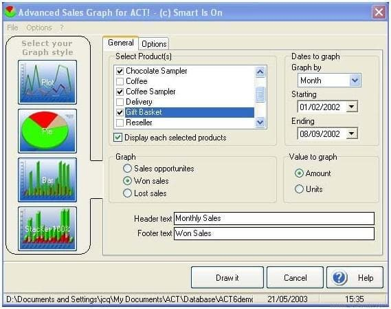 Advanced Sales Graph. ACT! Addon