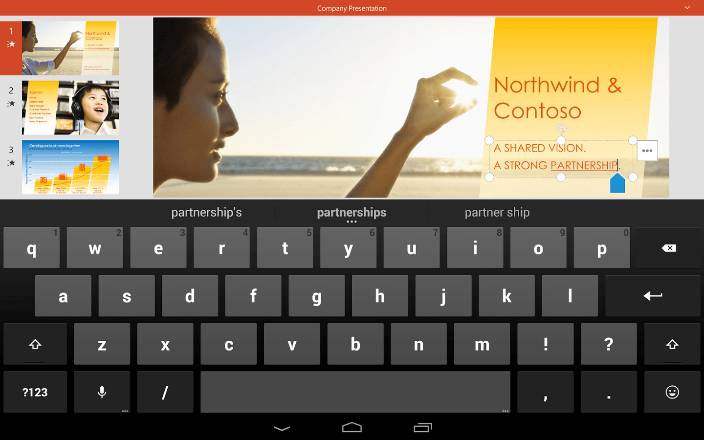PowerPoint on an Android tablet PC for presentations