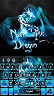 Neon Blue Dragon Keyboard