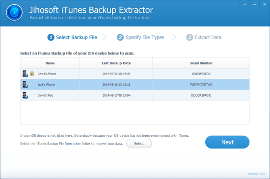 Jihosoft iPhone Backup Extractor Free