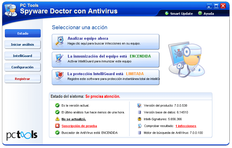 PC Tools Spyware Doctor con Antivirus