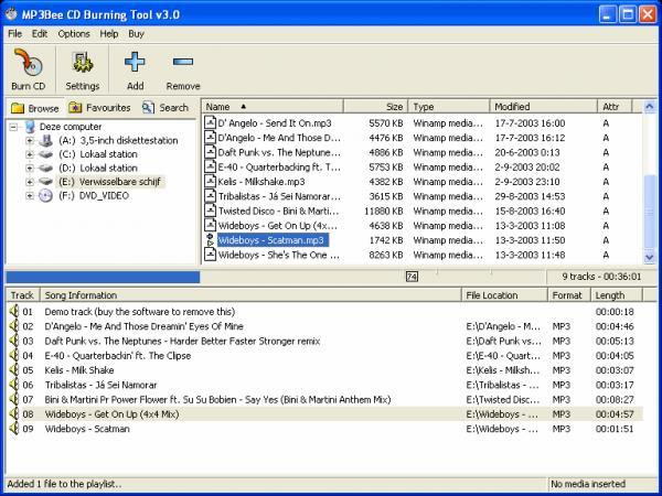 MP3Bee CD Burning Tool