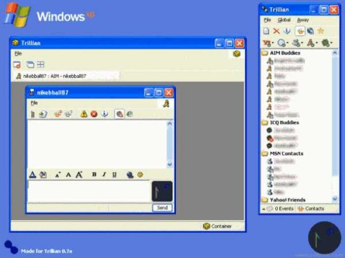 Windows XP Trillian Skin