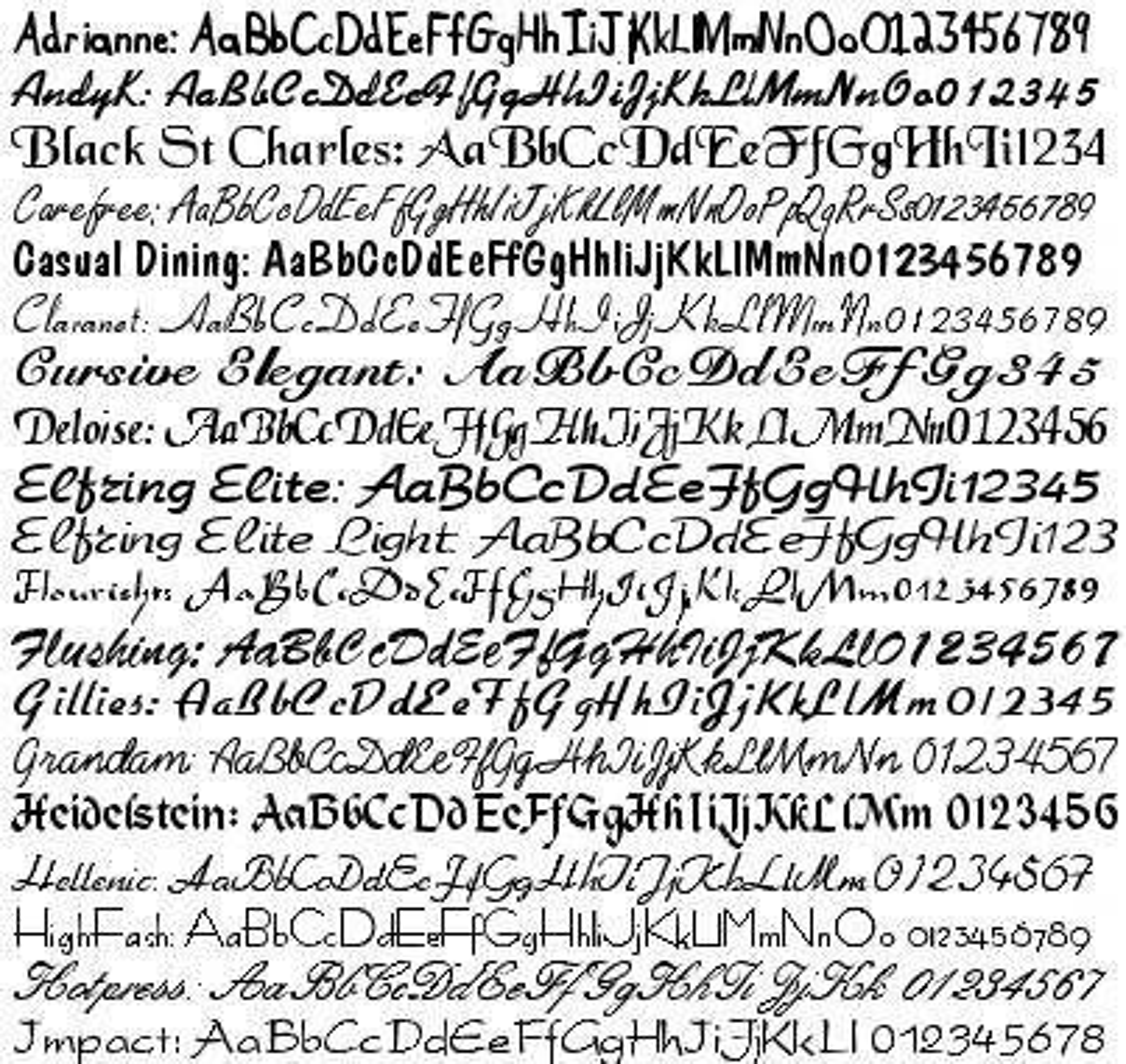 Script & Calligraphy Fonts