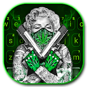 Gun Weed Cool Lady Keyboard Theme 1.0