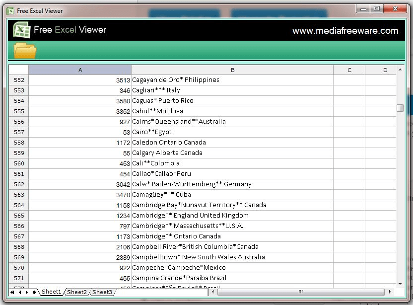 Free EXCEL Viewer