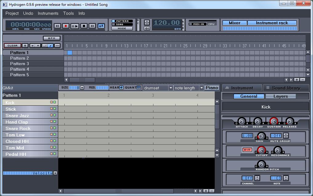 Pour composer des rythmiques et les assembler avec d'autres musiques, Hydrogen sera un logiciel de musique adapté, une vraie boite à rythme !