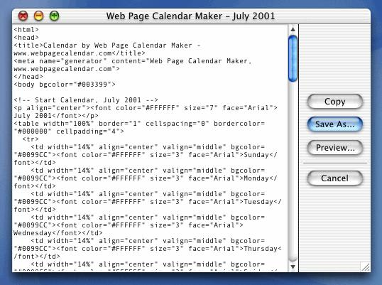 Web Page Calendar Maker for Mac - Download
