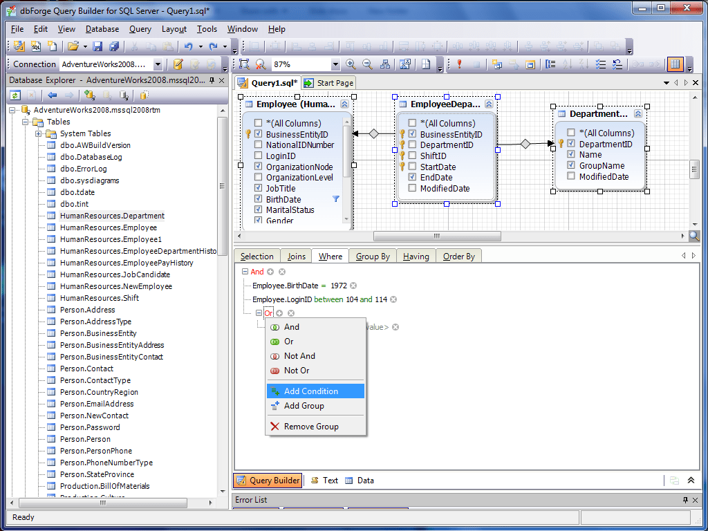 dbForge Query Builder for SQL Server