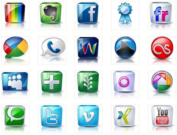 Ikony serwisów społecznościowych (High detail social icons)