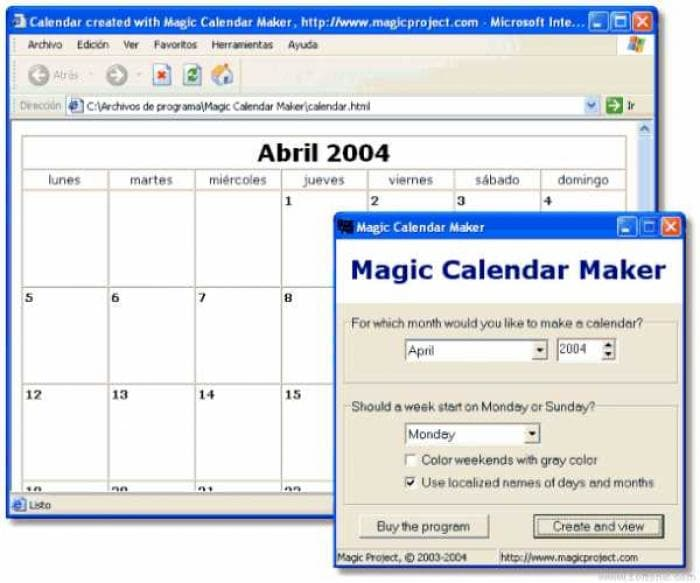 Magic Calendar Maker