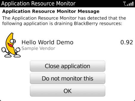 BlackBerry Applicaton Resource Monitor