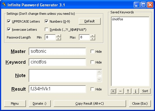 Infinite Password Generator