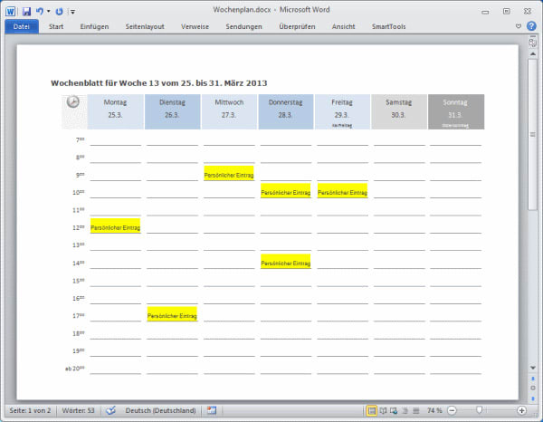Smarttools Kalender-Assistent 2014 Für Word - Download
