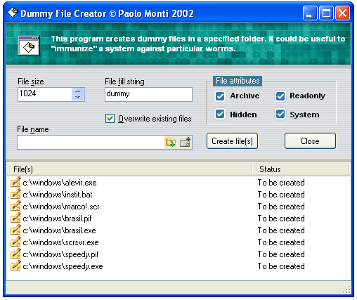 NOD32 Dummy File Creator