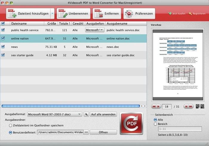 4Videosoft PDF to Word Converter für Mac