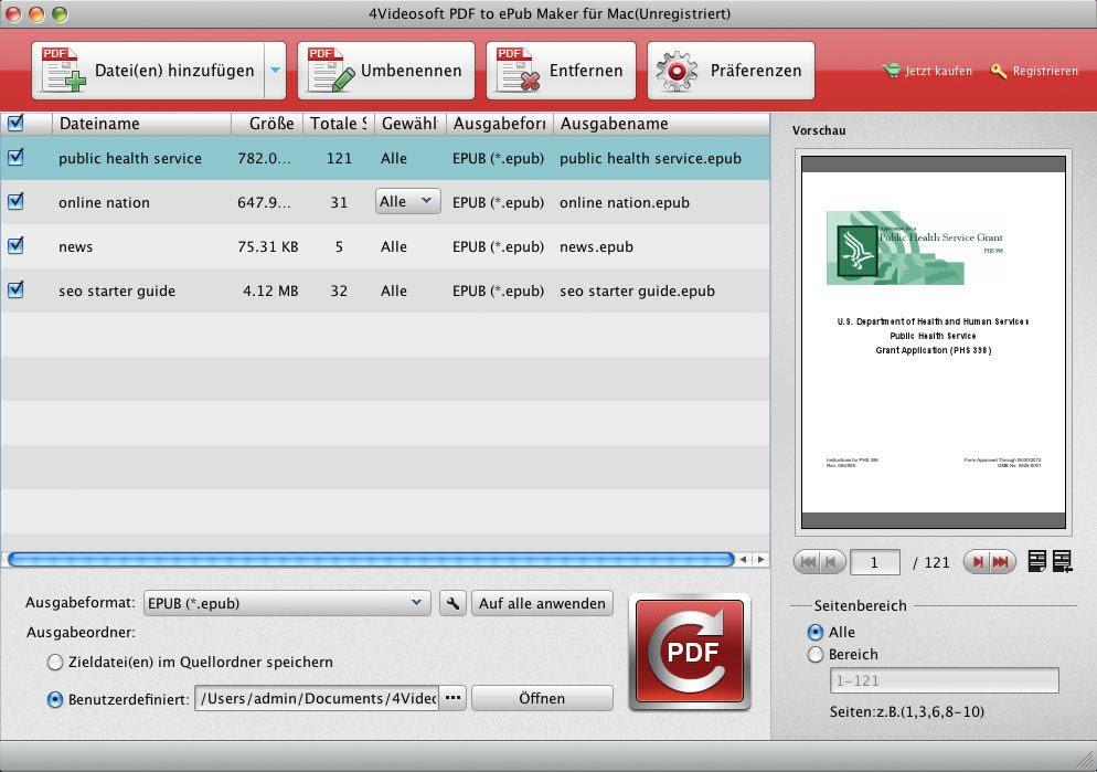 4Videosoft PDF to ePub Maker für Mac