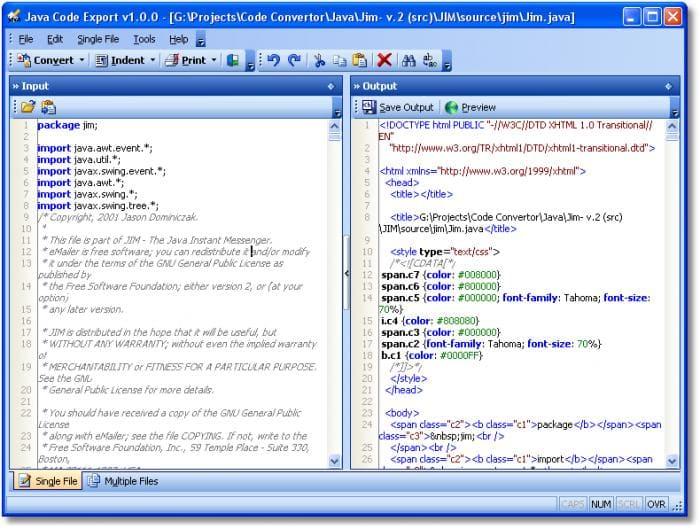 Java Code Export
