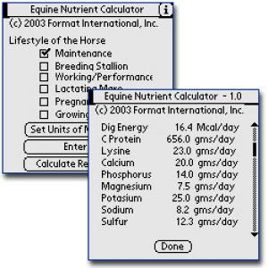Horse Nutrient Requirement Calculator