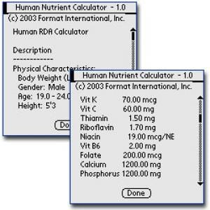 Human Nutrient Requirement Calculator