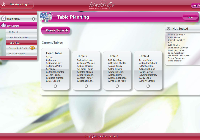 Weddigo wedding planner online for Online planning software