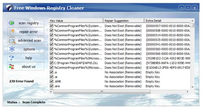 Free Windows Registry Cleaner