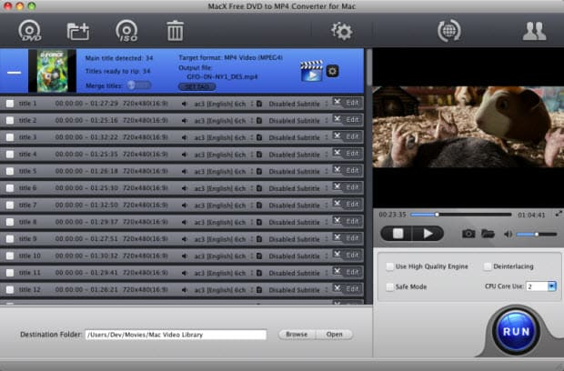 MacX Free DVD to MP4 Converter for Mac