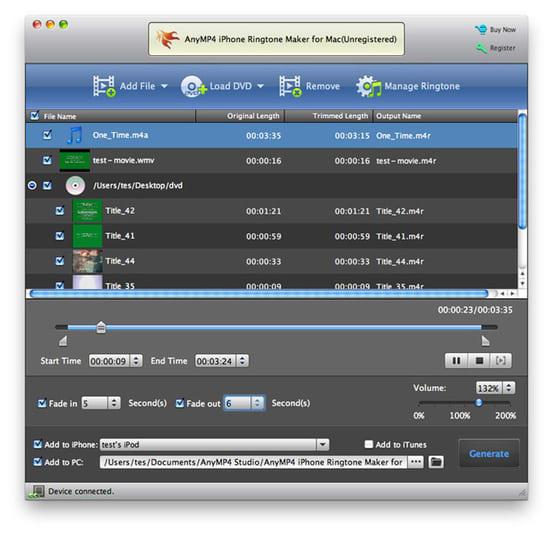 AnyMP4 Créateur Sonnerie iPhone pour Mac