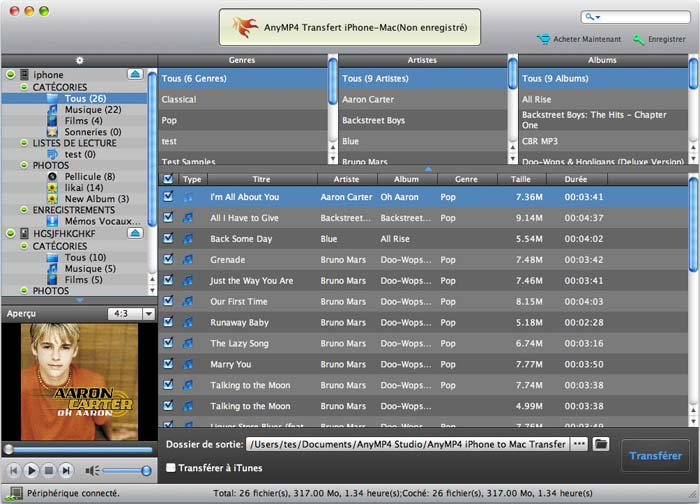 AnyMP4 Transfert iPhone-Mac