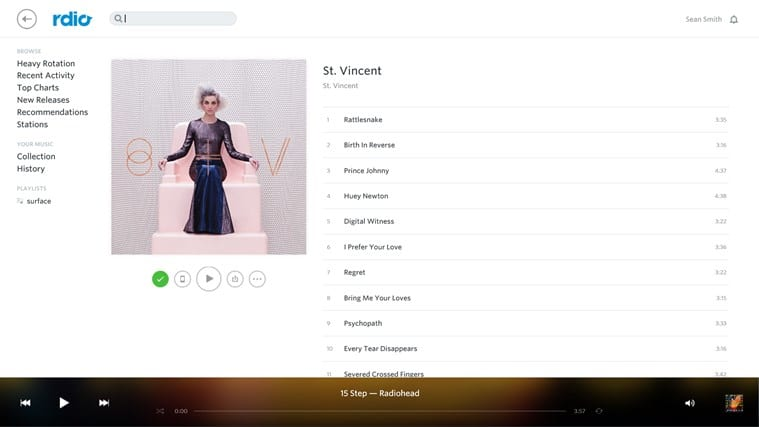 Rdio for Windows 10