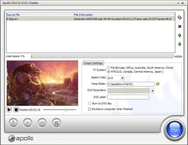 Apollo DivX to DVD Creator
