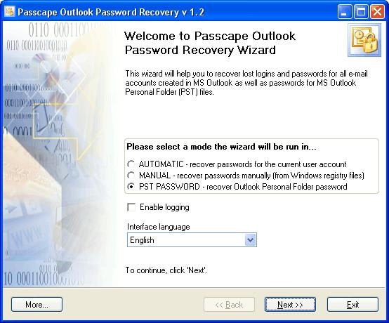 Passcape Outlook Password Recovery