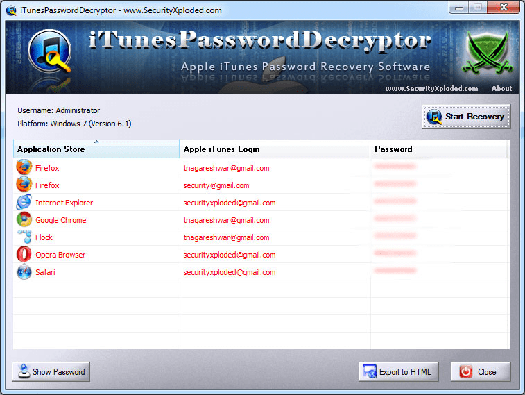 iTunes Password Decryptor