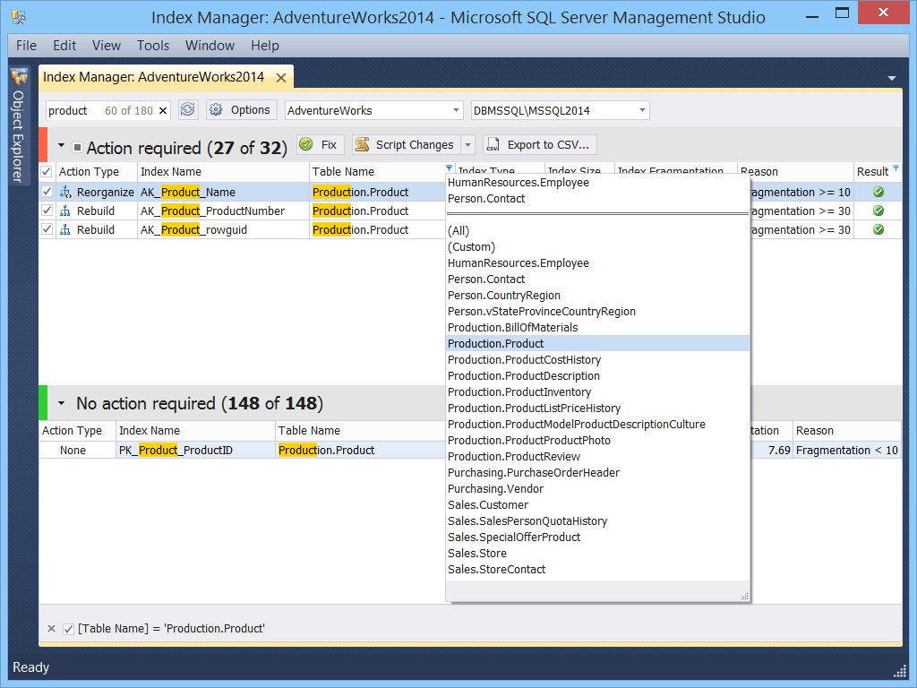 dbForge Index Manager for SQL Server