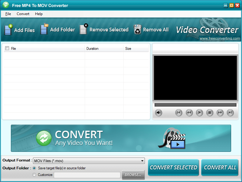 Free MP4 to MOV Converter