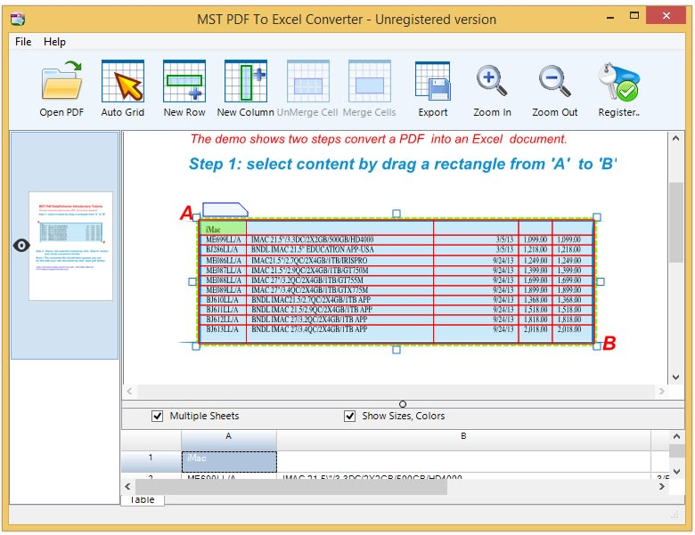 MST PDF To Excel Converter