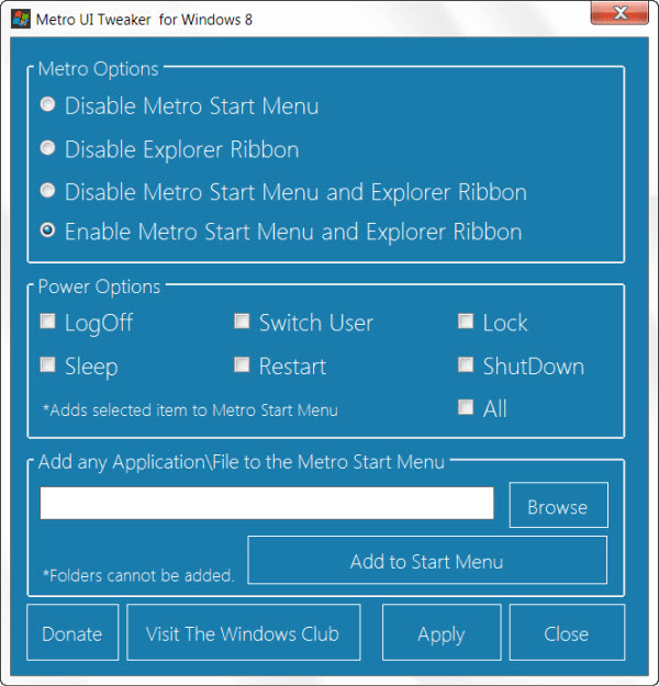Metro UI Tweaker para Windows 8 1.0